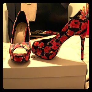 """High Society"" Black and red open toe heels"